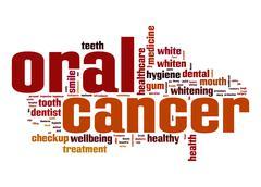 oral cancer word cloud - stock illustration