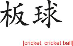 Chinese Sign for cricket, cricket ball Stock Illustration