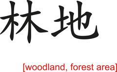 Chinese Sign for woodland, forest area - stock illustration