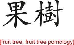 Chinese Sign for fruit tree, fruit tree pomology - stock illustration