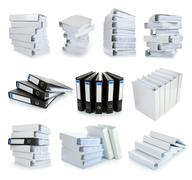 collection stack of file office binder - stock photo