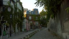 Rue de l'abreuvoir Montmartre France PAris Stock Footage