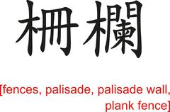 Stock Illustration of Chinese Sign for fences, palisade, palisade wall, plank fence