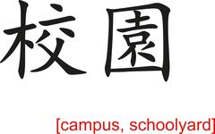 Chinese Sign for campus, schoolyard - stock illustration