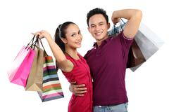 young couple shopping - stock photo