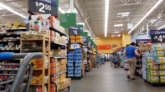 Super Market isle with shoppers Stock Footage