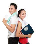 Stock Photo of sporty woman and man