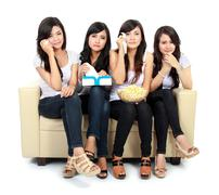 group of teenager watching romantic movie - stock photo