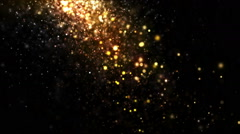 Stock Video Footage of Glitter Particles Falling Gold