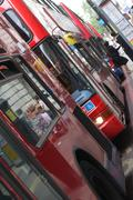london double decker buses - stock photo