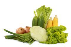 green fresh healthy vegetables - stock photo