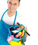 Male cleaning service Stock Photos
