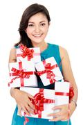 Stock Photo of beautiful girl with a gift boxes