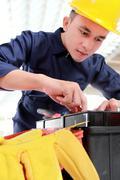 Stock Photo of worker prepare equipment