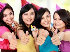 Stock Photo of beautiful girls celebrate birthday