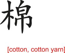 Chinese Sign for cotton, cotton yarn - stock illustration