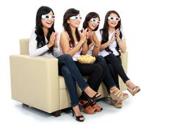 applause at the movie in 3d - stock photo