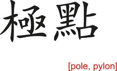 Stock Illustration of Chinese Sign for pole, pylon