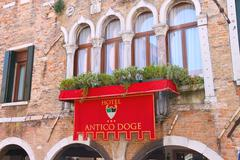 "facade of the hotel ""antico doge"" in venice, italy - stock photo"
