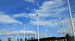 Group of windmills for renewable electric energy production Stock Footage