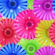 Seamless flower gerbera patter. - stock illustration