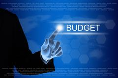 Business hand clicking budget button on touch screen Stock Illustration