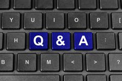 q&a or questions and answers word on keyboard - stock illustration