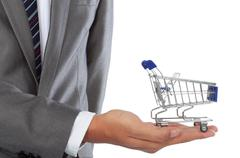 hand and shopping cart - stock photo