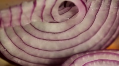 Slicing a red onion close up Stock Footage