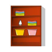 Vector linen cupboard, wardrobe with clothes Stock Illustration