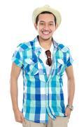 Stock Photo of tourist man smiling