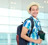 Stock Photo of happy backpacker