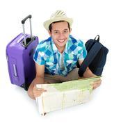Stock Photo of traveler using map