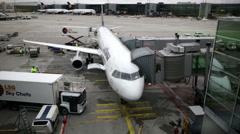 Airport, Frankfurt, plane and ground vehicles Stock Footage
