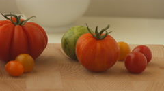Green, yellow and Red Tomatoes Stock Footage