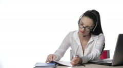Businesswoman talking on the phone,operator Stock Footage