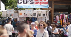 CDs, no fakes - Portobello rd 4K Stock Footage