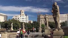 Types of Barcelona. Catalonia Square. Catalonia, Spain. Stock Footage