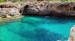 Majorca Island (Spain) Porto Colom and coast.dolly shot Stock Footage