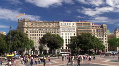 Stock Video Footage of Types of Barcelona. Catalonia Square. Catalonia, Spain.