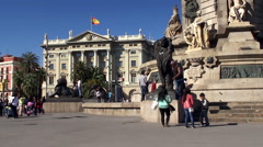 Types of Barcelona. People at the base of Columbus Monument. Stock Footage