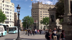 Types of Barcelona. Catalonia Square. Catalonia, Spain. Stock Footage