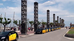 Taxi cars at the cabstand are waiting of passengers. Stock Footage