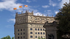 Flags of Barcelona, Catalonia & Spain at Catalonia Square. Stock Footage