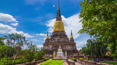 4k timelapseof old Temple pagoda, Wat Yai Chai Mongkol at Ayutthaya Stock Footage