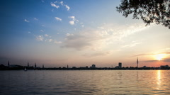 Hamburg Alster lake sunset DSLR dolly shot time lapse Stock Footage