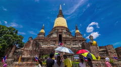 4K timelapse of Asian religious architecture. Wat Yai Chaimongkol Stock Footage
