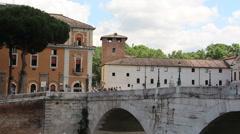 Tiber Island bridge and European landscape - stock footage