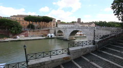 The Tiber River and Island Stock Footage
