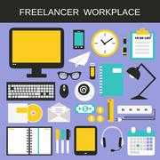 Stock Illustration of Freelancer workplace icons set